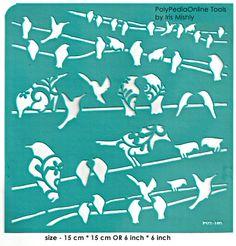 Stencil Stencils Pattern Template Bird on Wire 6 by irismishly (Craft Supplies… Animal Stencil, Bird Stencil, Stencil Fabric, Stencil Painting, Stenciling, Stencil Templates, Stencil Patterns, Stencil Designs, Scrapbook Supplies