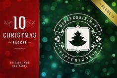 10 Christmas labels and badges by Vasya Kobelev on Creative Market