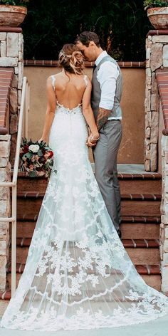33 Absolutely Gorgeous Destination Wedding Dresses ❤ destination wedding dresses bohemian lace low back with spaghetti straps miss stella york ❤ See more: http://www.weddingforward.com/destination-wedding-dresses/ #weddingforward #wedding #bride