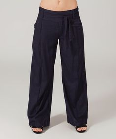 Another great find on #zulily! Navy Tie-Waist Palazzo Pants #zulilyfinds