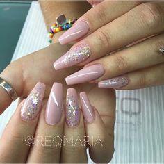 Blush pink + Glitter long coffin nails @reqmaria #nail #nailart