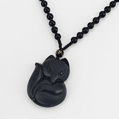 Natural Black Obsidian Fox Pendant Necklace