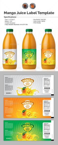 Mango Juice Label Template - Packaging Print Templates.Download here: http://graphicriver.net/item/mango-juice-label-template/15609124?ref=arroganttype