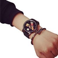 Unique style Watch men Stainless Steel food pattern simple Quartz Analog Wrist Watch relogios masculino horloges mannen #48