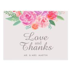 Pink Floral Watercolor Wedding Thank You Postcard - elegant gifts gift ideas custom presents