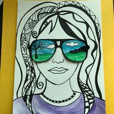 I love the portraits that I have seen with sunglasses. This is my twist on this idea. I just started this today so I will post some completed student examples soon. Classroom Art Projects, School Art Projects, Art Classroom, Simple Art Projects, Summer Art Projects, Arte Elemental, Self Portrait Art, Jr Art, 6th Grade Art