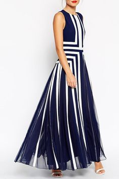 Blue and White Wedding Ideas - Navy and white striped maxi dress from Zaful
