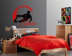 Add a finishing touch to your boys or teen room with this skateboarding vinyl wall decal with personalized name. During checkout process