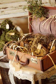 love vintage suitcase as display piece
