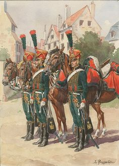 Chasseurs à Cheval, Young Guard Squadron 1814 by Rousselot.