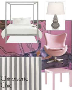 Chinoiserie Chic: The Pink and Gray Chinoiserie Bedroom