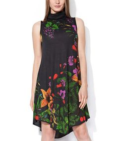 Loving this Black & Green Floral Moscatel Sleeveless Dress on #zulily! #zulilyfinds