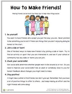 Want to learn how to make friends? Use this helpful worksheet from Mylemarks! #friendships #socialskills #healthyrelationships #SEL #mylemarks