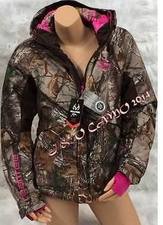 Womens Realtree Pink Camo Rainproof Parka Jacket with Hood S M L XL in bf09b5e63