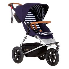 Mountain buggy stroller navy, stripes, leather