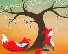 We Found Our Home - art print featuring foxes