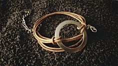 Triple row Natural Leather Bracelet with Large Ring and Chain. Free Shipping. by Bohemicin on Etsy
