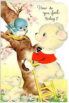Vintage Norcross Die Cut Get Well Greeting Card Felted Bear Rabbit Bluebird 661