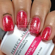 perfect match gel swatches | Pearl Rose is a bright, shimmery red. I'm not normally a fan of red ...