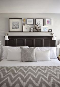 Master bedroom decor home tour bedroom wall decor above bed wall shelf decor wall mounted grey . Small Master Bedroom, Bedroom Black, Ivory Bedroom, Small Bedrooms, Home Decor Bedroom, Diy Bedroom, Bedroom Ideas, Headboard Ideas, Bedroom Furniture