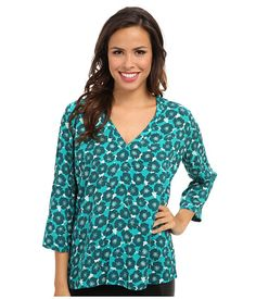 Tommy Bahama Womens Sea Poppy Top Palm Coast Teal - Shirts & Tops