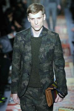 Camo herringbone suits seen at maison #Valentino #AW14 #PFW