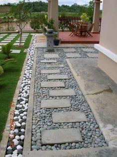 Garden Yard Ideas, Backyard Garden Design, Small Garden Design, Front Garden Landscape, Landscape Design, Side Yard Landscaping, Landscaping Ideas, Pebble Landscaping, Sidewalk Landscaping