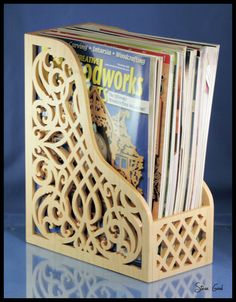 Want to store your Scroll Saw Woodworking and Crafts or Creative Woodworks magazines in style. It just makes sense to store a scroll saw mag. Intarsia Wood Patterns, Wood Craft Patterns, Wood Carving Patterns, Art Patterns, Cross Patterns, Design Patterns, Embroidery Patterns, Hand Embroidery, Woodworking Projects That Sell