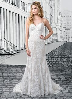 Chantilly Lace And Fit Flare Wedding Dress With Vintage Appeal Spaghetti Straps Frame A Sweetheart Neckline Plunging Back Finishes