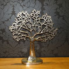 Epic Deko Baum aus massivem Metall Silber Ein echtes Highlight f r ein sch nes