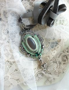 Mint grey pendant - handmade bead embroidery - soutache necklace - Silver elegant necklace - stone necklace - vintage jewelry - gift for her