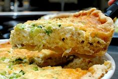 This crab, cheese and scallion quiche, perfect for brunch or dinner, is certainly going to be one of the best you have ever tried! Quiche Recipes, Brunch Recipes, Breakfast Recipes, Souffle Recipes, Breakfast Dishes, Pie Recipes, Potato Recipes, Vegetable Recipes, Recipies