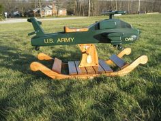 Appache One Wooden  Helicopter Rocker on Etsy, $2,500.00