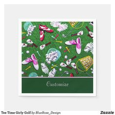 Tee Time Girly Golf Napkins Raffle Prizes, Ecru Color, Cocktail Napkins, Vinyl Lettering, Paper Napkins, Party Printables, Colorful Backgrounds, Holiday Cards, Kids Outfits