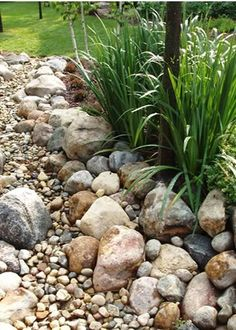 Love the look of a dry Riverbed on a Xeriscape yard! Add a bridge for an extra flair.