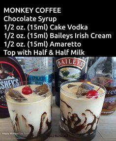 How To Make Best Copycat Baileys Irish Cream Recipe Monkey Coffee specialty drink Christmas Drinks, Holiday Drinks, Winter Drinks, Chocolate Syrup, Chocolate Coffee, Chocolate Martini, Monkey Coffee, Liquor Drinks, Alcoholic Coffee Drinks