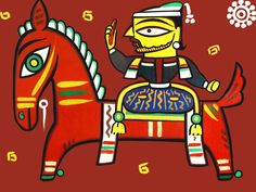 King on Horse - Photo Print of Jamini Roy Painting (Photographic Print - Unframed) Jamini Roy, Horse Artwork, Horse Photos, Kurti, Royals, Sculptures, Paintings, India, King