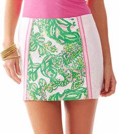 Lilly Pulitzer Tate Panel Skirt in Resort White Seeing Pink Elephants