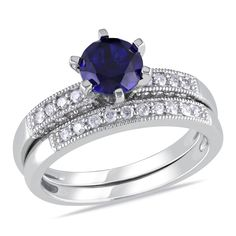 10k White Gold Round I2-I3 Diamond & Created Blue Sapphire Ring, 1/3 ctw