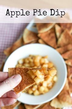 If you love apple pie, you'll love this apple pie dip. Easy to make and tastes just like an apple pie! Perfect to serve at your next gathering! #appetizer #dessert #snack #applepie #dip #apples #cinnamon #tortilla #tortillachips #homemadechips #applepiedi