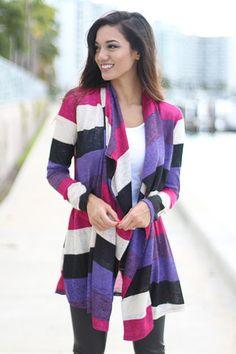 Purple Color Block Cardigan