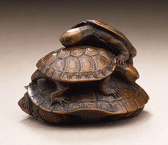 Kano Tomokazu (Japan, circa 1764/1771 - circa 1830/1843)  Turtle Group, early 19th century  Netsuke, Wood with inlays