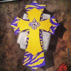 Hand Painted LSU Tigers Eye & Stripe Cross by KatsCustomCrafts, $40.00