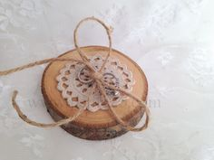 Hand crocheted doily wood slice ring bearer pillow by Petite25