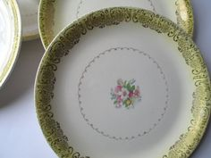 Vintage Paden City Yellow Floral Dinner Plates Set by thechinagirl