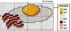 Fried egg with bacon cross stitch