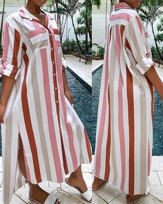 Striped Turn-down Collar Slit Shirt Dress Shop- Women's Best Online Shopping - Offering Huge Discounts on Dresses, Lingerie , Jumpsuits , Swimwear, Tops and More. Trend Fashion, Look Fashion, Fashion Lookbook, 80s Fashion, African Fashion Dresses, African Dress, Dress Outfits, Casual Dresses, Dress Ootd