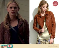 Sookie's brown leather double breasted jacket on True Blood.  Outfit details: http://wornontv.net/18110/