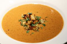 Soup 4 by foodwinemodpodge, via Flickr  Roasted cauliflower, potato, & red bell pepper soup.