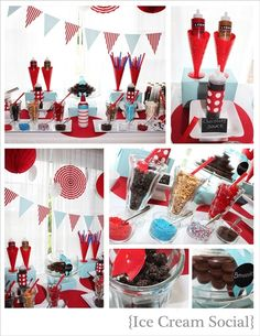 Ice cream buffet table...love the red and teal...maybe add some pink?